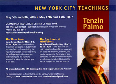 Tenzin Palmo teachings NYC