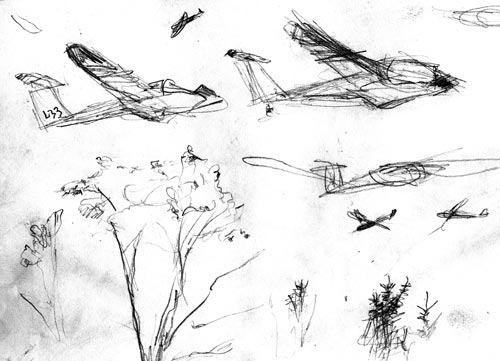 sketch of gliders at Freedom airstrip