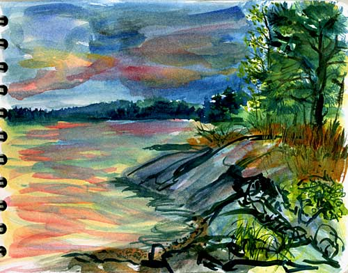 sunset watercolour from Gero Island, Maine