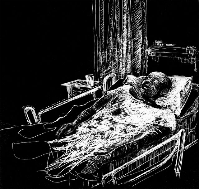 scratchboard drawing of horrified black man in hospital bed