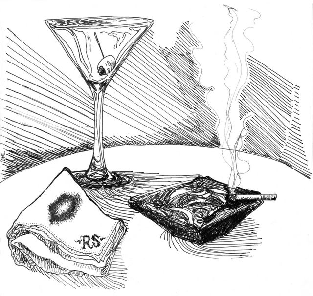 ink drawing of martini, ashtray, handkerchief with lipstick