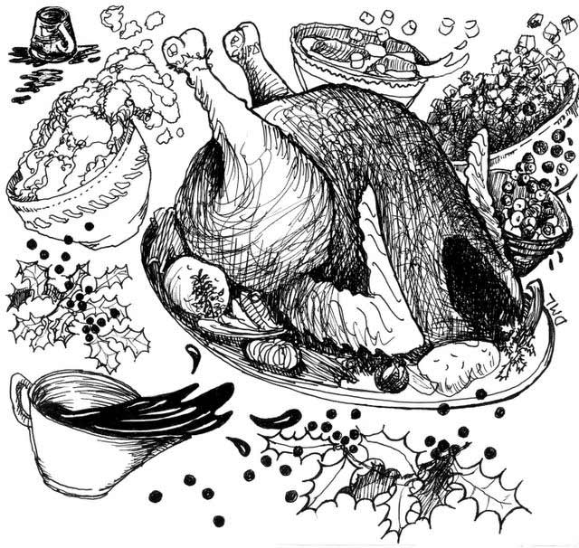 drawing of chaotic turkey dinner