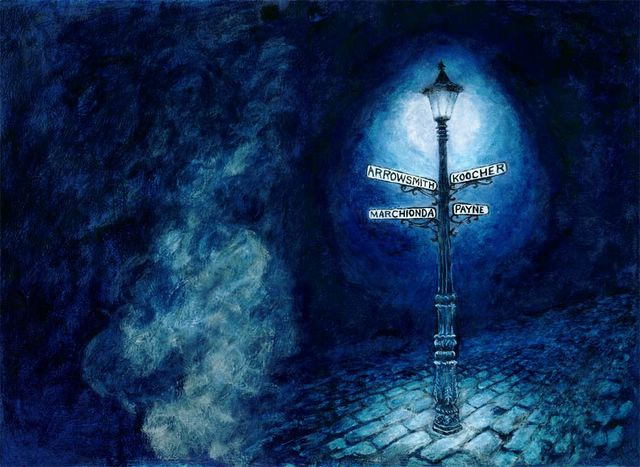 acrylic painting of lamppost & foggy cobble street